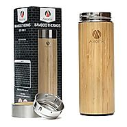 Premium Bamboo Thermos by AXIOMIE - Double Wall Stainless Steel Vacuum Insulated - Tea Tumbler With Strainer & Leak P...
