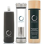 Pure Zen Tea Tumbler with Infuser | BPA Free Double Wall Glass Travel Tea Mug with Stainless Steel Filter | Leakproof...