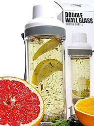 """Tea Infuser Bottle-16oz-Double Wall -Tea Tumbler-For Loose Leaf Tea & Fruit infusion-Glass Water Bottle w/ Strainer ..."