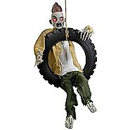 Halloween Haunters 3' Animated Hanging Swinging Tire Zombie Boy Reaper Prop Decoration - Kicking Legs, Haunted Laugh,...