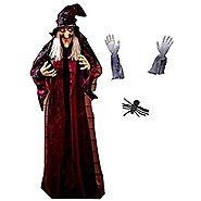 Halloween House Decor Kit 71 Hanging Animated Talking Witch, Zombie Arm Lawn Stakes, Spider