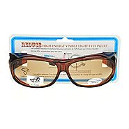 Fit Over 63mm UV Vision Protection Anti Reflective Computer Glasses Brown