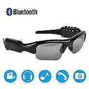 MOVTEKE Bluetooth Polarized Sunglasses DVR Video Cam Recorder 1080P Handsfree Wireless Headphones 4.1 MP3 Player Supp...