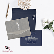 Ivory Wooly Foil Stamped Wedding Invitations : W-2102 | 123WeddingCards
