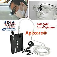 Apkcare Portable Clip Clamp LED Headlight Lamp for Dental Surgical Medical Binocular Loupes Glasses (Black)
