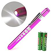 Zitrades Nurse Penlight Reusable Medical LED Pen Light White Purple Color for Nurses Doctors with Pupil Gauge Free Ba...