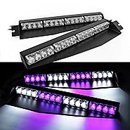 32W LED Lightbar Visor Light Windshield Emergency Strobe Split Mount Deck Dash Lamp (Purple&White)