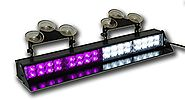 Purple and White Light Bar Visor Strobe Funeral Quad 2 LED Lightbar 1 Watt