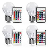 [4 Pack] LVJING RGB LED Light Bulb With Remote Control, 3W, 150LM, E27 Screw Base, 5050SMD, Color Changing, Perfect f...