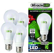 MiracleLED 604758 6-watt A19 Grow Room Specialty Light with Green LED Bulb, Omni directional, 4-Pack