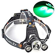 Topwell Hunting Green Light Tactical 5000LM 3 xT6 +2 x Green R5 LED Head Headlight Torch Lamp Headlamps for Night Fis...