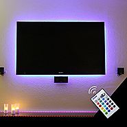 BASON USB LED TV Bias Lighting Backlight Strip for 32 to 42 Inch Flat HDTV 20 Color options Sync Switch On/off with T...