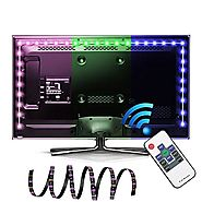 LED TV Backlight, EASTSHINE Bias Lighting Multi Color RGB Lights 118In 9.8Ft 60 Leds/M USB Powered Strip with RF Remo...