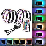 Bias Lighting for HDTV USB Powered TV Backlighting, Home Theater Accent lighting Kit With Remote Control, Kohree 2 RG...