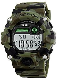 Boys Camouflage LED Sport Watch,Waterproof Digital Electronic Casual Military Wrist Kids Sports Watch With Silicone B...