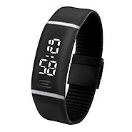 LED Watch, Malltop Unisex Rubber Bracelet Water Resistant Touch Screen White LED Digital Display Sports Wrist Watch (...
