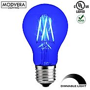 Modvera Blue LED Light Bulb A19 3 Watt E26 Base 15,000 Hour Lifespan Clear Glass Lights Up Blue