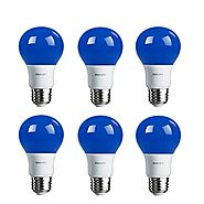 Philips LED Blue Bulb 6 Pack, 60 Watt Equivalent, A19 Non Dimmable, Medium Screw Base