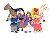 Melissa & Doug Royal Family Wooden Poseable Doll Set for Castle and Dollhouse (6 pcs) - 4 Dolls, 2 Horses (3-4 inches...