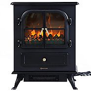 Giantex Free Standing Electric 1500W Fireplace Heater Fire Flame Stove Wood Adjustable