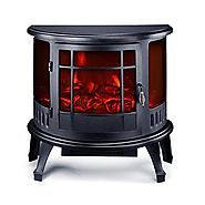 "HomCom 23"" 1500W Free Standing Electric Fireplace - Black"
