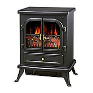 "Electric Fireplace 1500W Heater Smokeless Stove 17"" W/ Remote With Ebook"