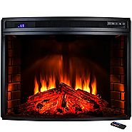 "AKDY 33"" Freestanding 1400W Adjustable 5200BTU Tempered Glass 6 Setting LED Insert Electric Fireplace Stove"