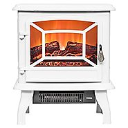 "FIREBIRD 17"" 1500W Adjustable 2 Setting 5200BTU Freestanding Portable Tempered Glass Electric Fireplace Stove Heater ..."