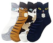 JJMax Women's Sweet Animal Socks Set with Thick Eared Cuffs One Size Fits All (Original Cats)