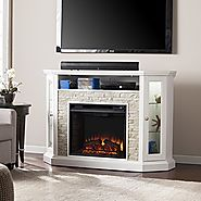 "Southern Enterprises Rollins Convertible Corner Electric Media Fireplace 52"" Wide, White Finish with Faux Stone"