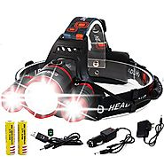 EMIDO Zoomable LED Headlamp,4 Modes Super Bright Headlight,Waterproof Flashlight Torch Headlamps,18650 Rechargeable B...