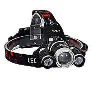 BenRan 6000Lm Headlamp LED, 4 Light Modes Headlight,IMPROVED Zoom Flashlight with Rechargeable 18650 Battery & Dual S...
