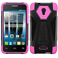 Alcatel Fierce 4 - Hot Pink Inverse Advanced Armor Stand Case Cover :: CellPhoneCases.com
