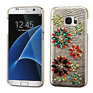 Samsung Galaxy S7 Edge G935 Flowers Gold Lizard Leather Crystal Case :: CellPhoneCases.com