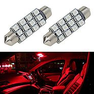 Partsam Red Car LED Lamps 42mm festoon 12SMD Interior Dome Map Lights Bulbs 12V 561 562 578, Pack of 2pcs