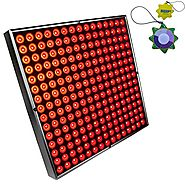 "HQRP 12"" x 12"" Square High-Power 45W 225 LED Red Grow Light System / Panel plus Hanging Kit + HQRP UV Meter"