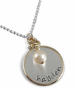 Sterling Silver Baby Charm Necklace with Gold Accents