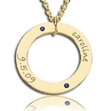 Gold or Silver Name Necklace with Birthdate and Birthstones