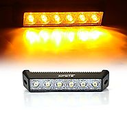 "Xprite 18W 7.5"" Inch 3000K Amber 1440LM 60 Degree Flood Beam LED Mini Work Light Bar for Off Road ATV UTV Jeep Truck"