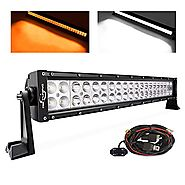 "MICTUNING 21.5"" 120W Amber White LED Work Light Bar Combo Fog Lights with Customized Switch Wiring Harness Kit"