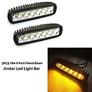 Night Break Light 6 Inch 18W Amber Led Flood Fog Lights 9-30V 3000K 60 Degree Flood Beam Waterproof 18w Amber Led Wor...