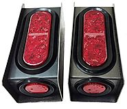 "2 Steel Trailer Light Boxes w/6"" LED Oval Tail Lights & 2"" LED Red Round Side Lights -24013/24001/24004"