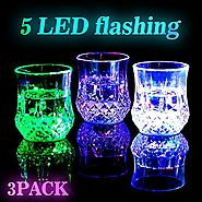 Led Light Up Glasses [3 Sets], AYAMAYA [ 7 oz ] Automatic Water Activated Color Changing Drinking Mug Blinking Flashi...