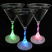 Light Up Martini Glasses with Color Changing LED Light & Long Spiral Stem (Set of 6)