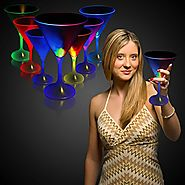 LED Martini Glass With White Stem - 7oz