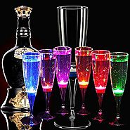 Champagne Flutes Glasses Set of 6,Auker Shatterproof Led Flash Light Up Crystal Cocktail Wine Cups Wine Water Flashin...