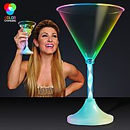 Light Up Martini Glasses with Color Changing LED Light & Long Spiral Stem (Set of 12)