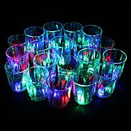24PCS Set Amazing Non-toxic Plastic Colorful Flashing Light Up LED Cups Shots Glass for Bar Party Night Club Party Ro...