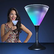 Light Up Frosted Martini Glass with Black Base & Color Changing LED Light