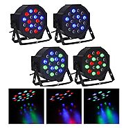 CO-Z DMX Controlled LED Par Light 18x3W RGB DJ PAR 64 Stage Lighting Party Lights (4pcs)